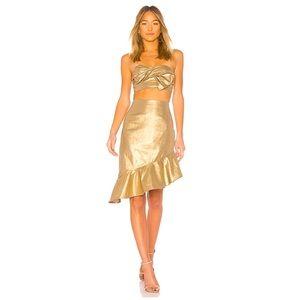 NWT Lovers + Friends Gold Aiden Ruffle Skirt